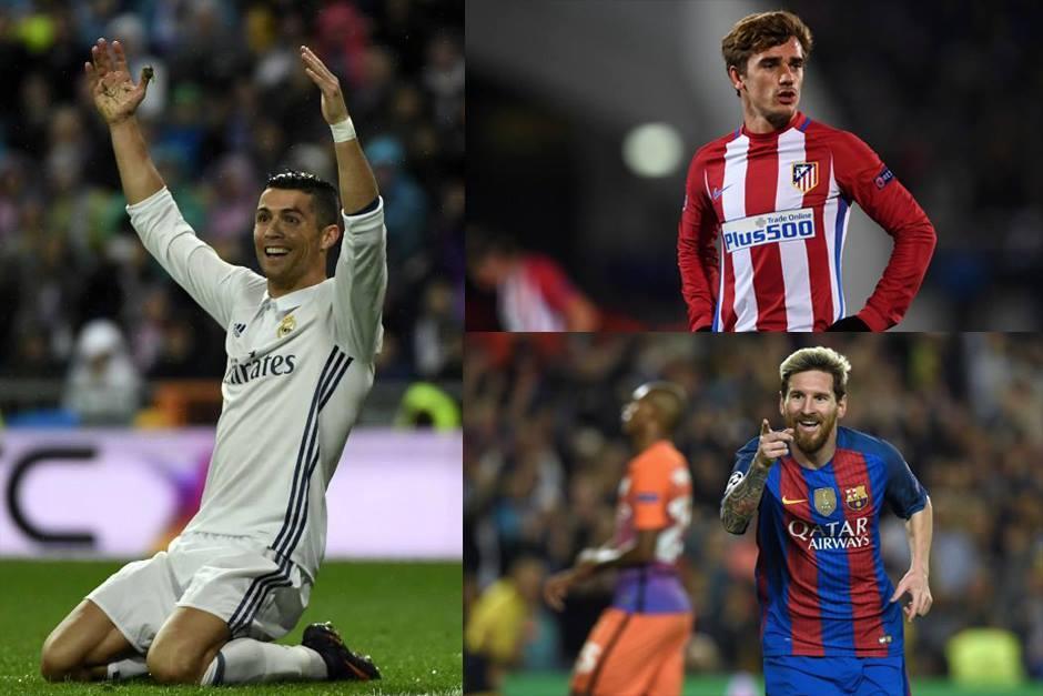 Cristiano, Messi y Griezmann, los favoritos para el podio. (Fotos: AFP)