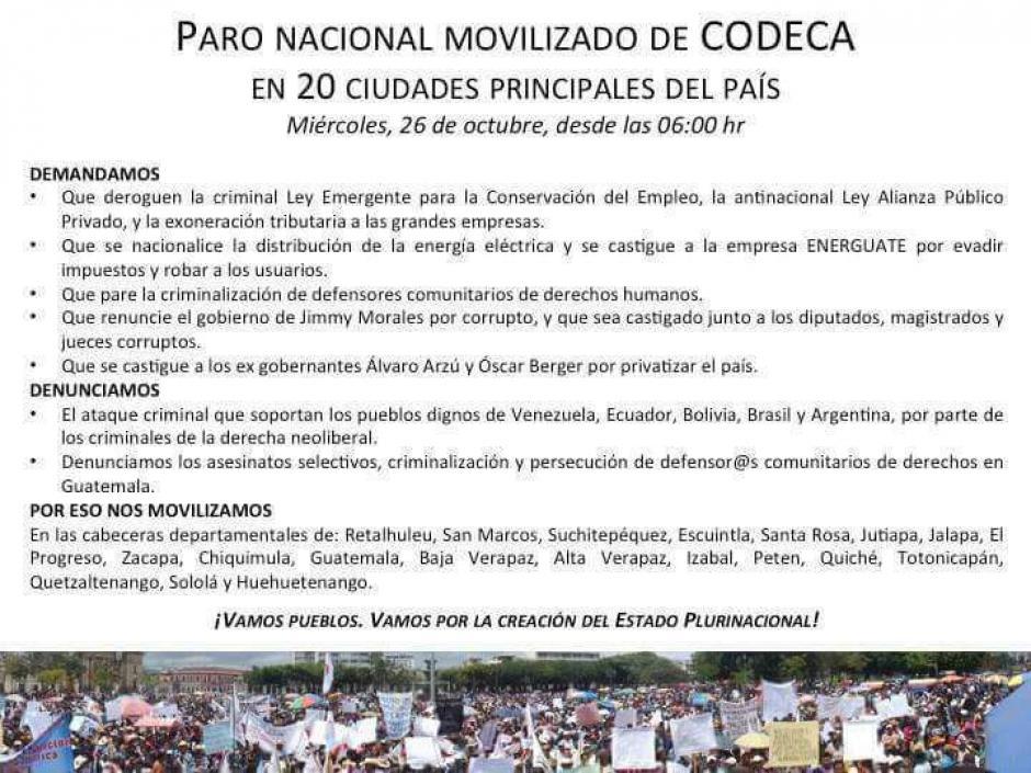 Estas son las razones de la movilización de Codeca. (Foto: Codeca)