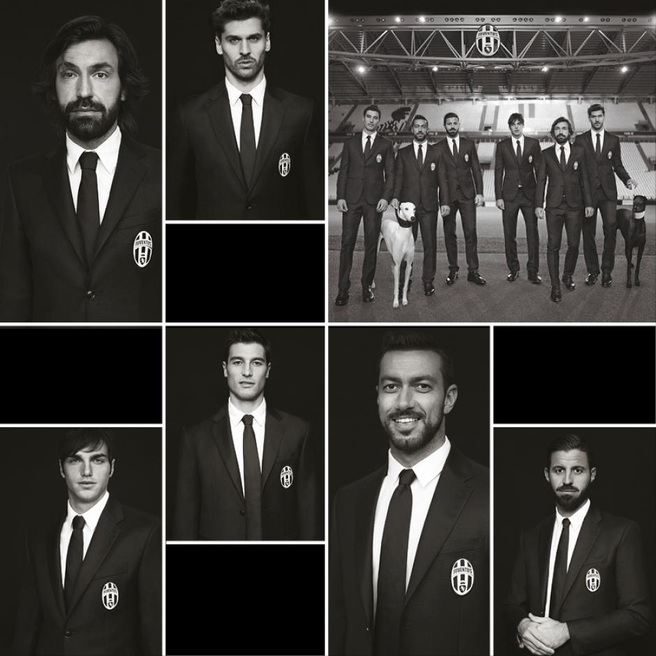 Los diseños Trussardi, son la línea oficial de vestir de los integrantes del equipo Juventus de Turín. Para realzar la campaña, el equipo también se hizo acompañar por los galgos. Foto Trussardi