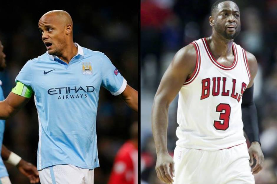 Vincent Kompany, capitán del Manchester City y Dwayne Wade, de los Chicago Bulls. (Fotos: Fox Sports)