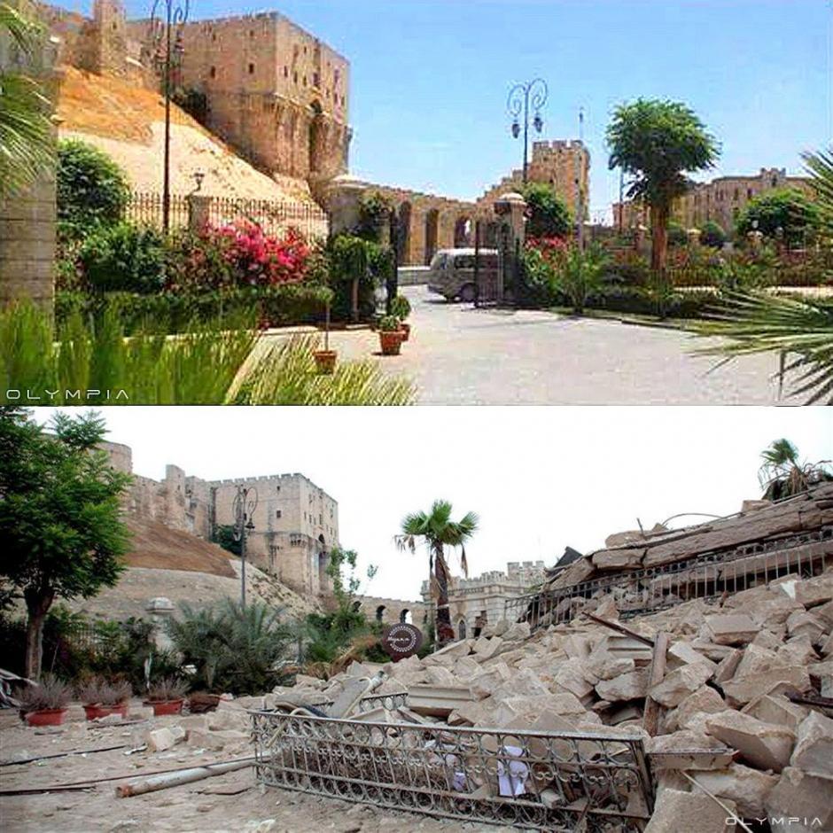 La entrada de el Hotel Carlton frente al Castillo de Alepo (Foto: Olympia.Rest/Facebook)