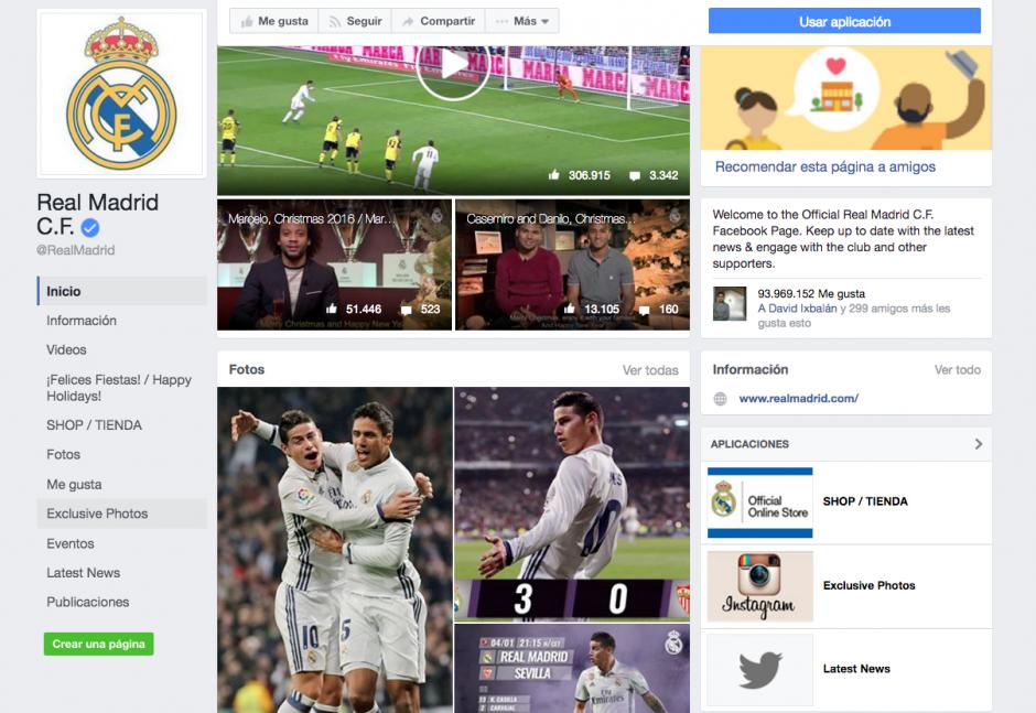 En Facebook, el Madrid le pisa los talones al Barcelona. (Foto: Captura de pantalla)