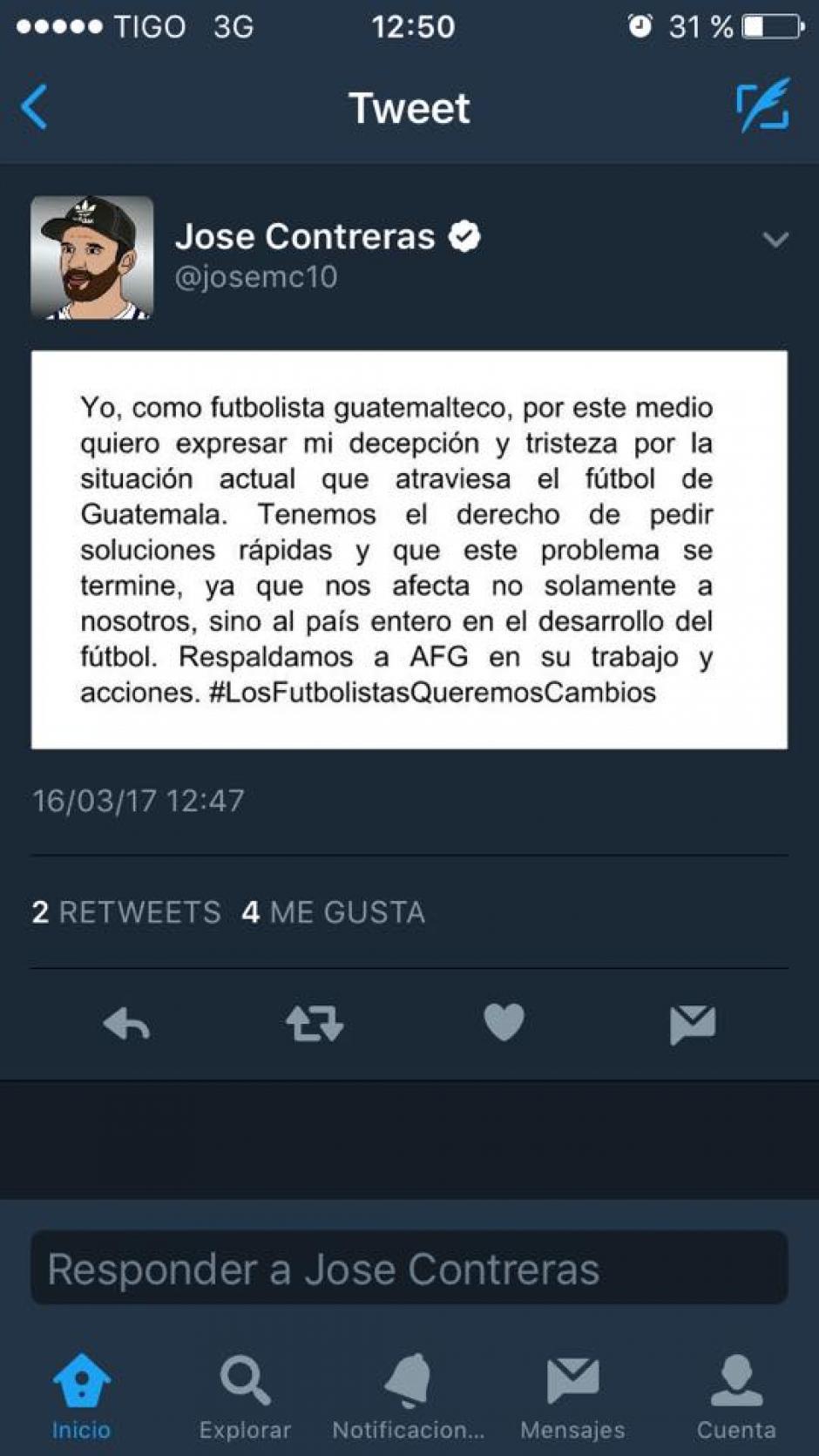 """José Contreras se sumó al pedido de Carlos """"el Pescado"""" Ruiz. (Foto: Twitter)"""