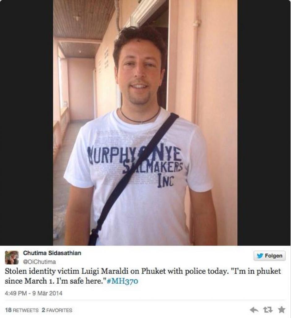 Él es Luigi Maraldi, él no iba en el avión. Pero fue a Maraldi, a quien los pasajeros iraníes robaron el pasaporte para viajar en el vuelo MH-370. En Twitter un amigo de él publicó que se encontraba bien y que afortunadamente no iba en la aeronave. (Foto: Pray for MH-370/Facebook)