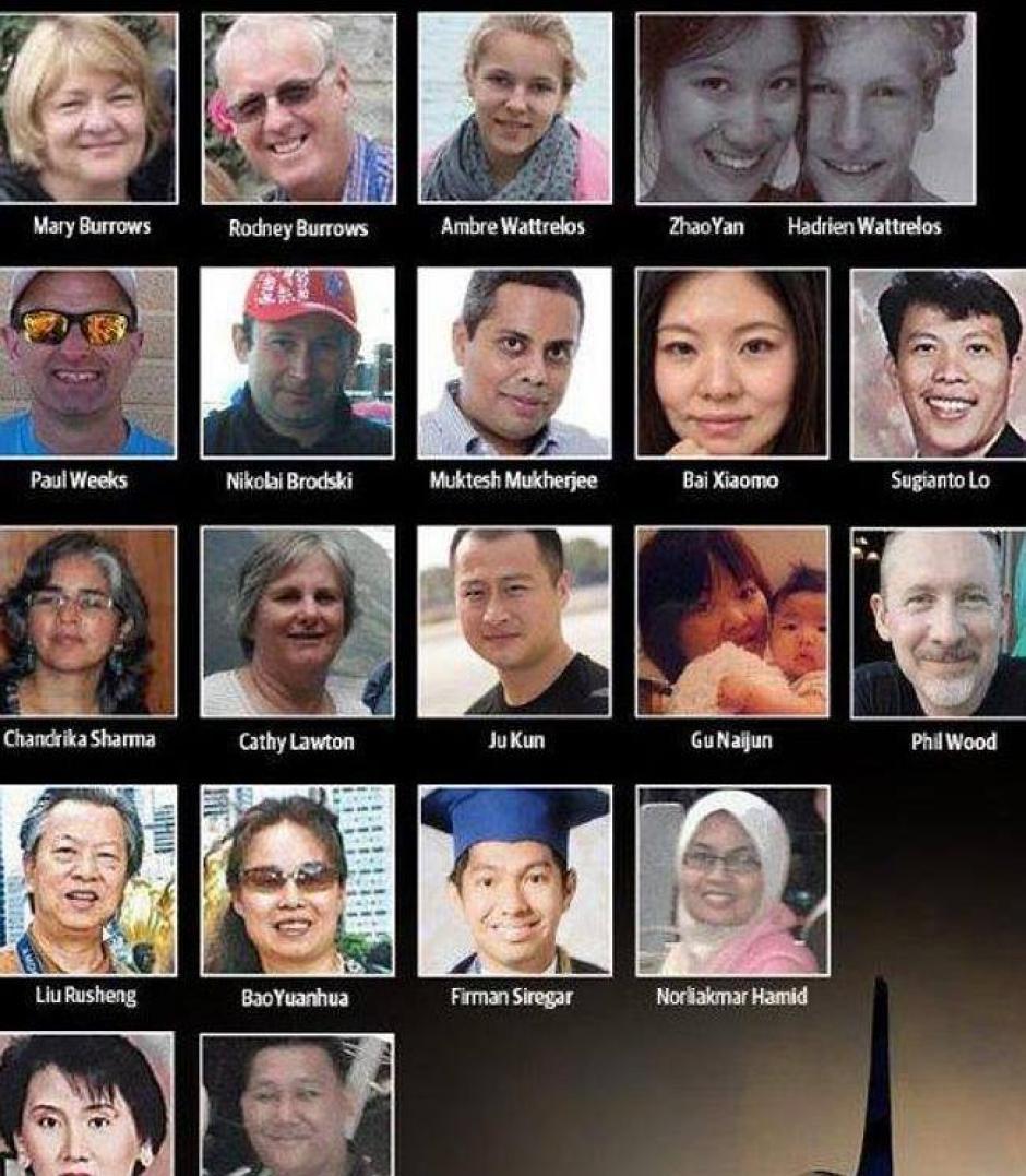 Ellos son algunos de los 230 pasajeros que viajaban en el boeing 777 de Malaysia Airlines, que desapareció desde el 8 de marzo y que finalmente las autoridades confirmaron hoy que cayó sobre el Océano Índico. (Foto: Prayforpassengers/Facebook)