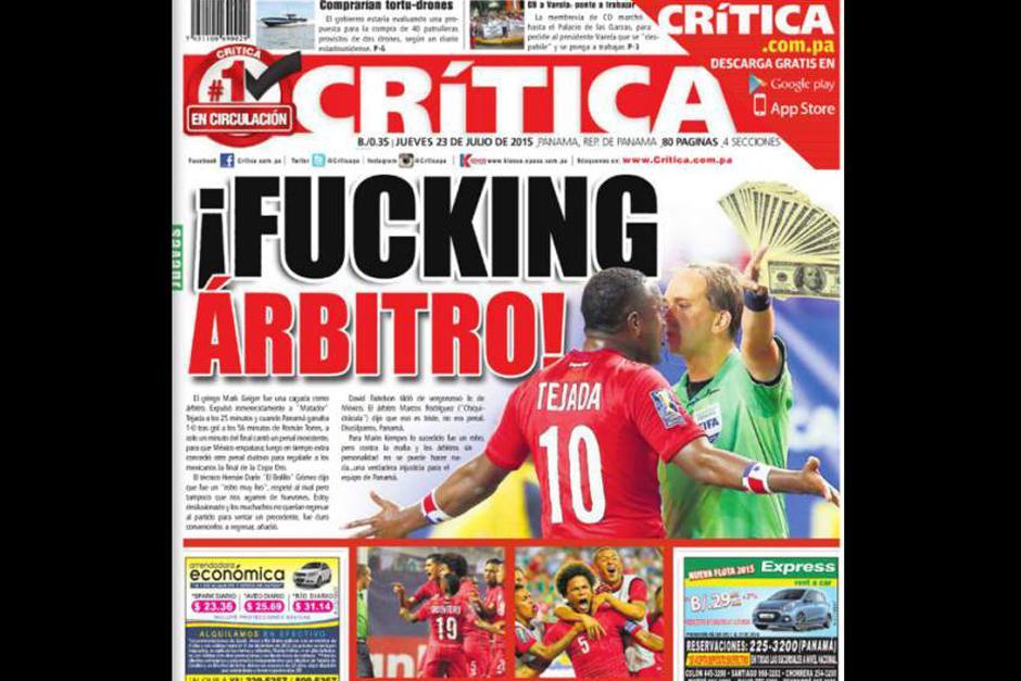 """La portada del periódico """"La Crítica"""" de Panamá. (Foto: diez.hn)"""