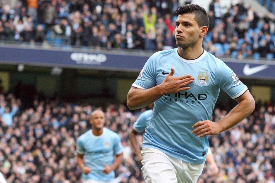 """El argentino Sergio el """"Kun"""" Agüero inicio la goleada colocando el 1-0 en el Etihad Stadium"""