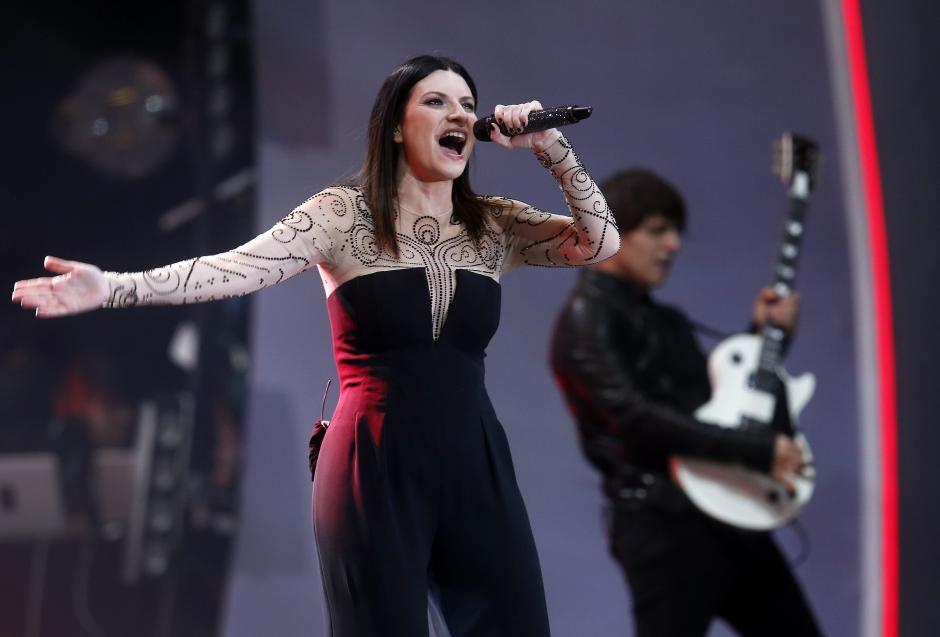 La cantante italiana Laura Pausini se presentó el 24 de febrero, durante su concierto en la Quinta Vergara, en la segunda jornada del Festival Internacional de la Canción de Viña del Mar. (Foto: EFE)