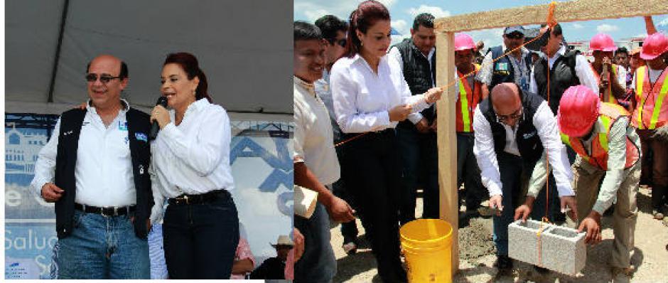 La exvicemandataria y Jorge Villavicencio, exministro de Salud, en la colocación de la primera piedra. (Foto: Captura de Pantalla)
