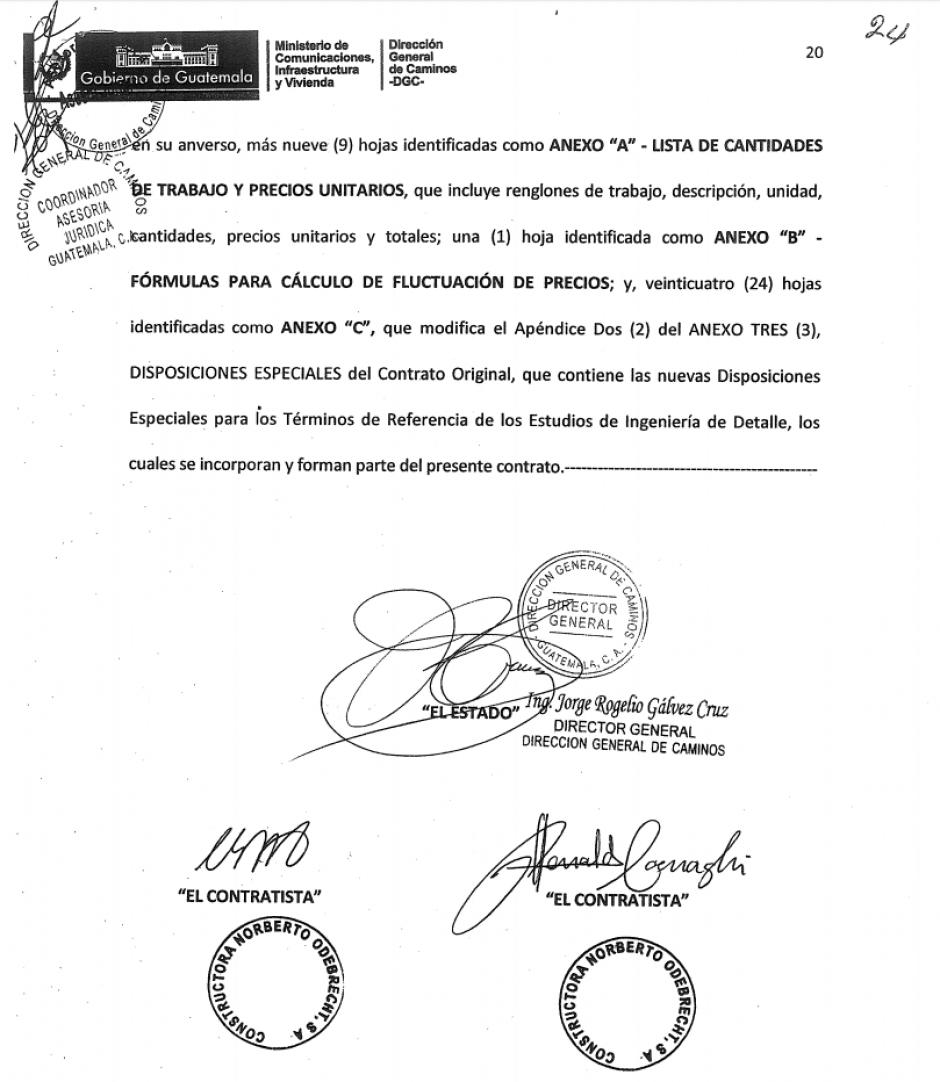 La firma de dos representantes de Odebrecht. (Foto: Soy502)