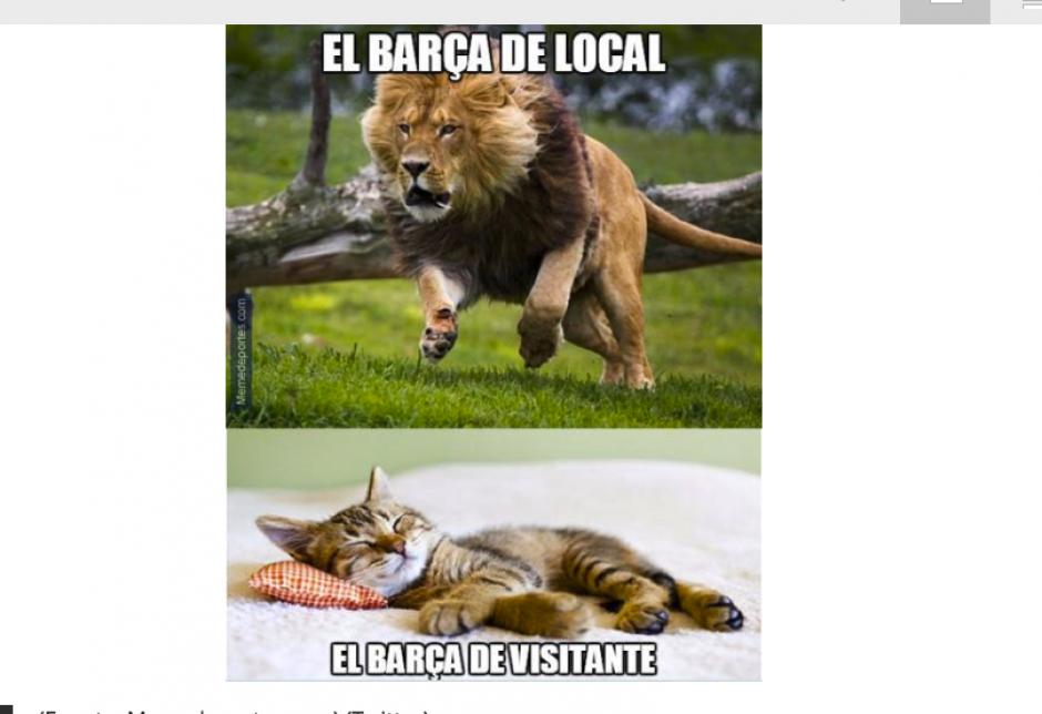 Los aficionados del Barcelona reprocharon a su equipo. (Foto: MemeDeportes)