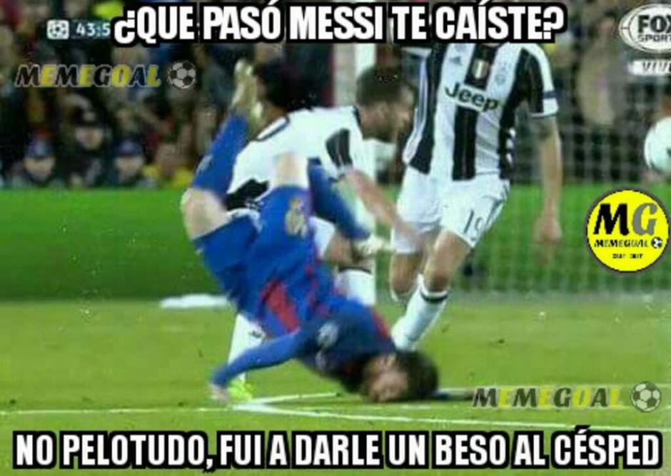Messi y su tremenda caída. (Foto: Twitter)