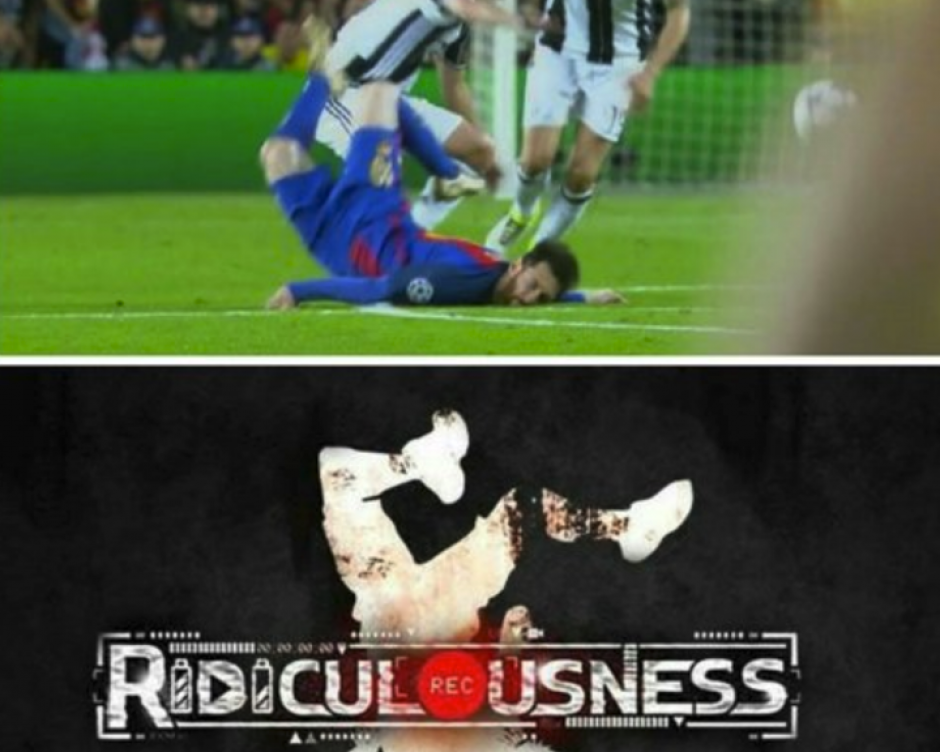La peculiar forma en que cayó Messi provocó reacciones de todo tipo. (Foto: Twitter)