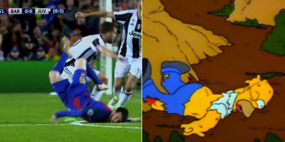 """La caída de Messi en el primer tiempo provocó una ola de """"memes"""". (Foto: Twitter)"""