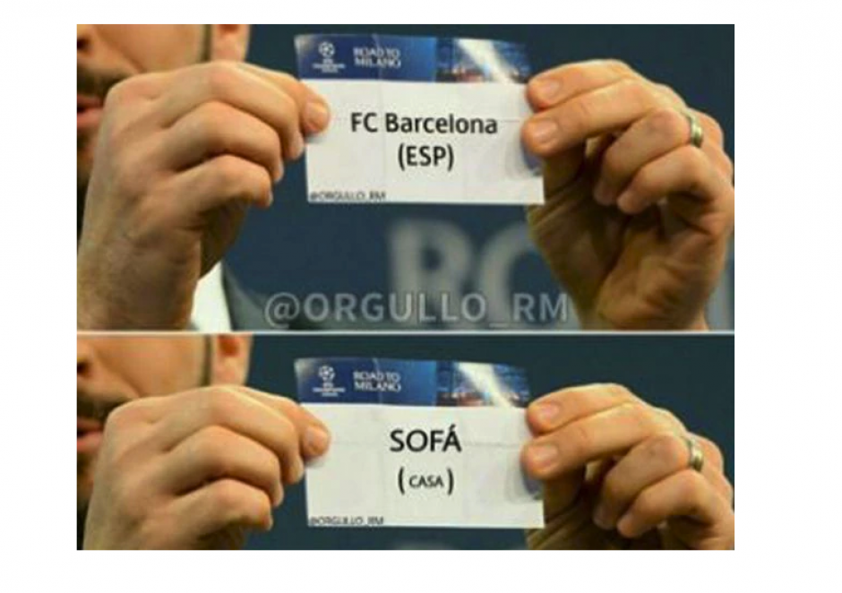 "El Barcelona no logró llegar a la semifinal, pero si los ""memes"". (Foto: MemeDeportes)"