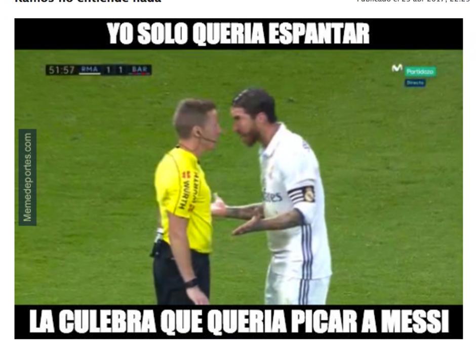 Ramos fue expulsado del juego por una entrada contra Messi. (Foto: MemeDeportes)