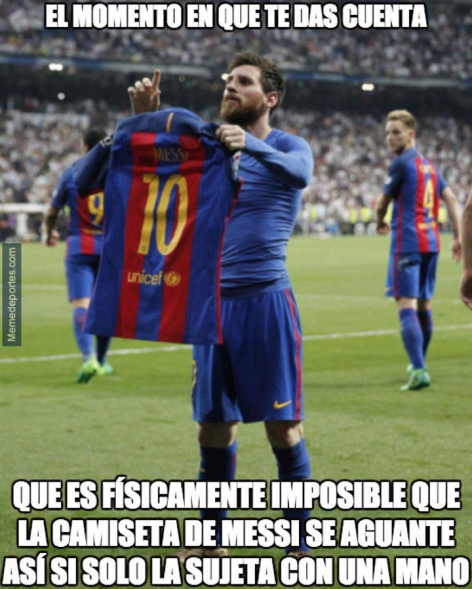 Al anotar el tercer y definitivo gol del encuentro, Messi se quitó la camisola y la mostró así al palco del Madrid. (Foto: Twitter)