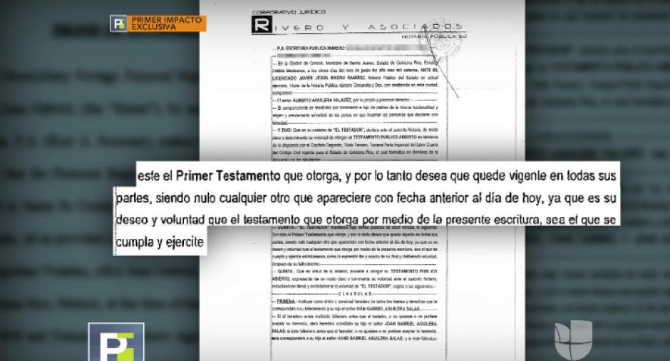 En el documento se detalla que es el primer testamento del artista. (Foto: captura de video)