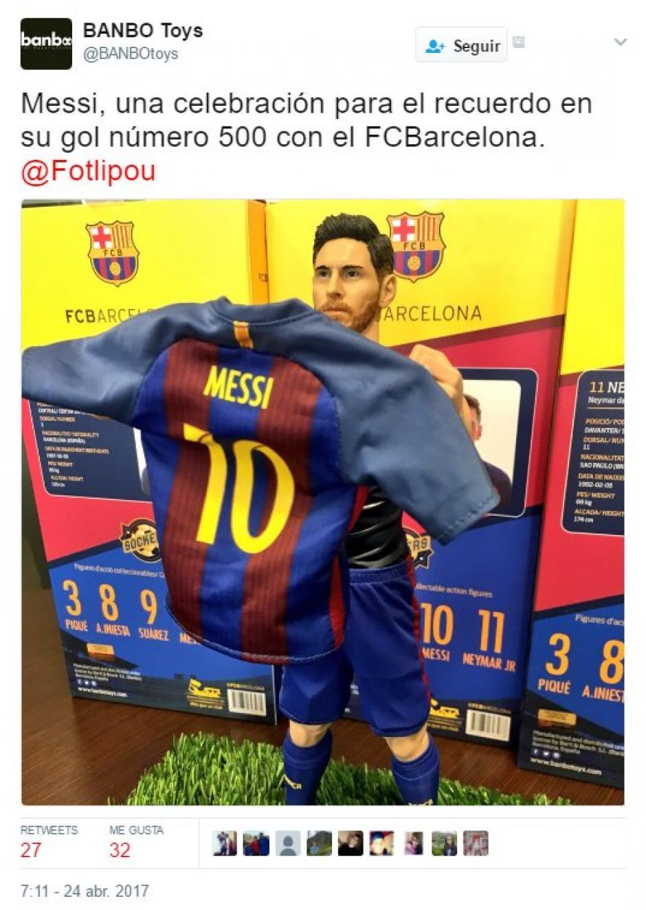 Banbo Toys pone a la venta el festejo de Messi en el Bernabéu. (Foto: Twitter)