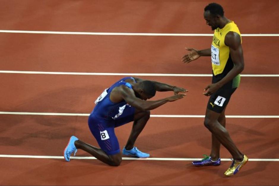 Gatlin rindió homenaje a Usain Bolt. (Foto: AFP)