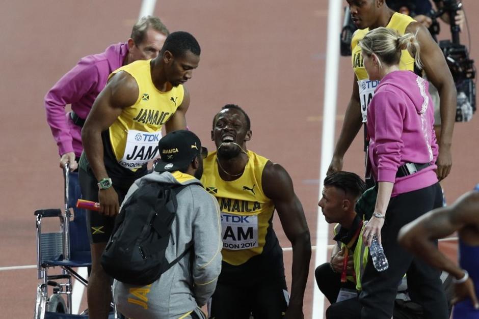 Bolt se lesionó en su última carrera. (Foto: AFP)