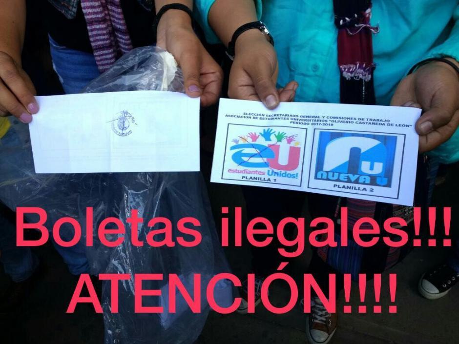 Así lucen las boletas no autorizadas de la Comisión Transitoria con la que realizan la elección clandestina. (Foto: CEEU)