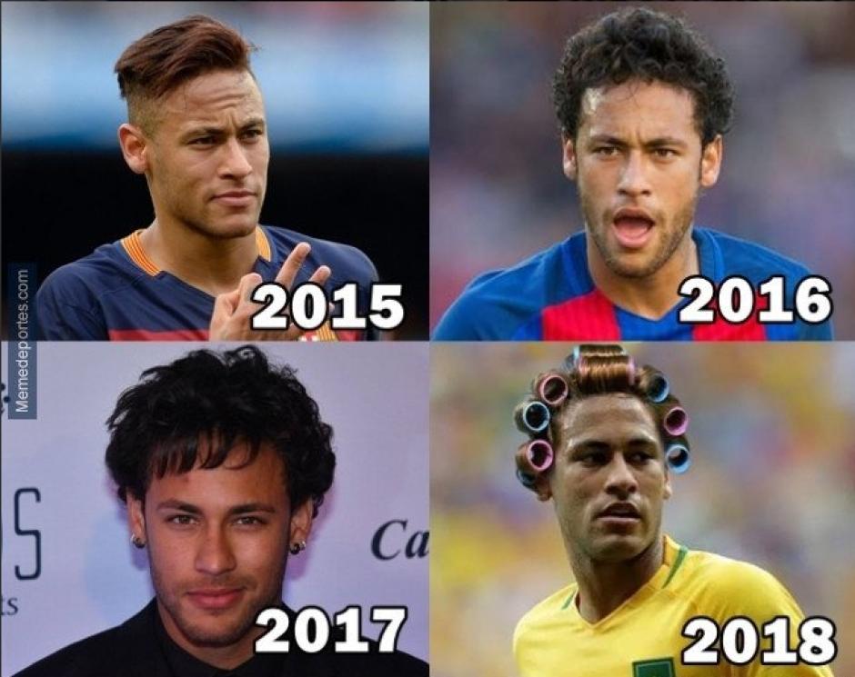 La evolución en los peinados de Neymar. (Foto: Twitter)