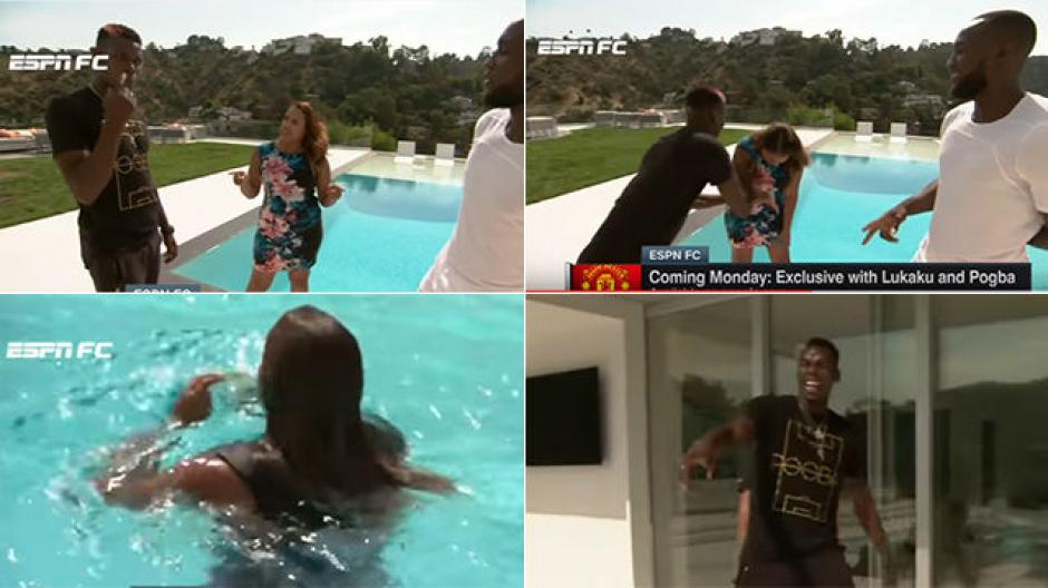 Paul Pogba empuja a una periodista de ESPN a la piscina. (Foto: Captura de video)