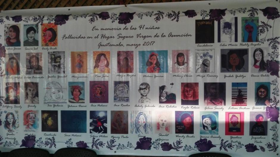 Se trata de 41 retratos de las niñas que murieron en el incendio ocurrido el 8 de marzo de 2017. (Foto: Marcia Zavala/Soy502)