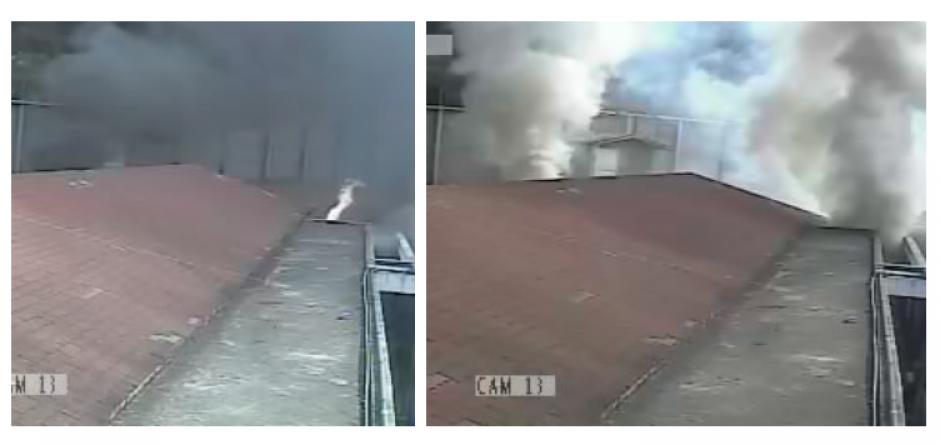 El cambio en la tonalidad del humo que salía de la habitación responde a que algunos cuerpos empezaron a ser consumidos por las llamas. (Foto: MP)