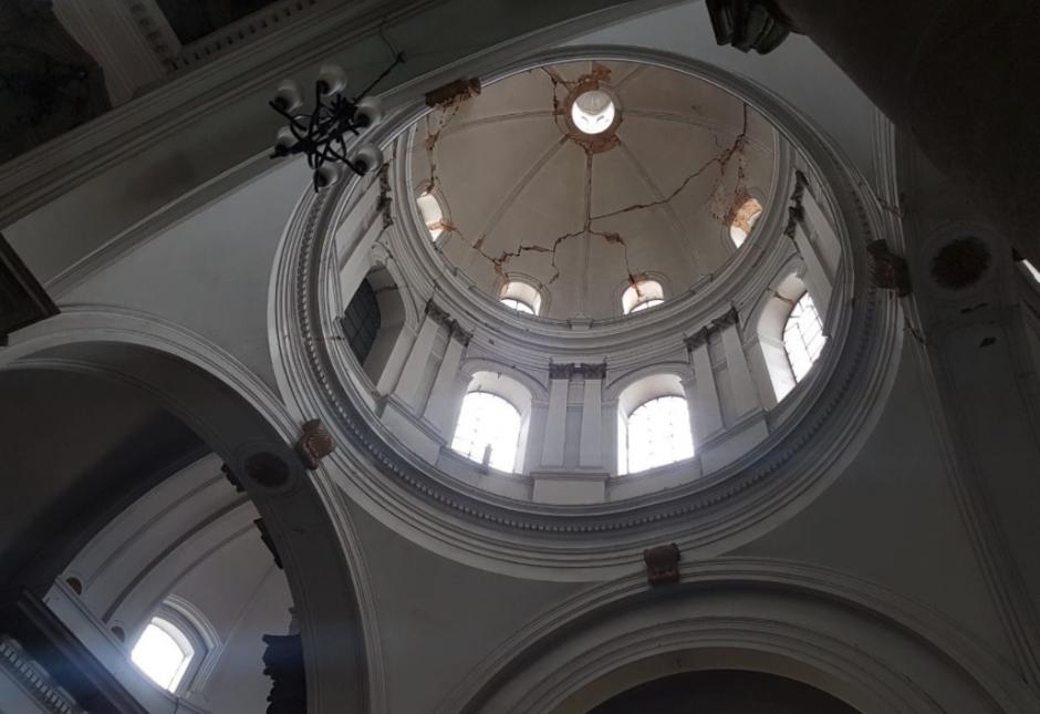 Así se presentó la cúpula de la catedral de Quetzaltenango. (Foto: Stereo 100)