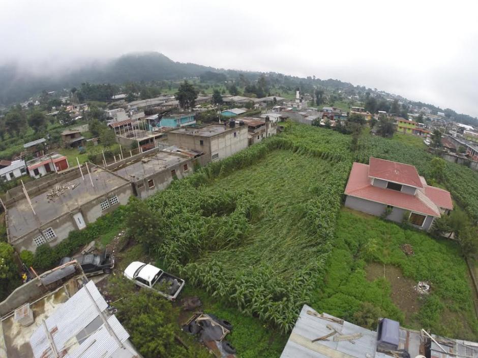 Vista aérea de los daños al cultivo de maíz en San Marcos. (Foto: Hugo Barrios/Soy502)