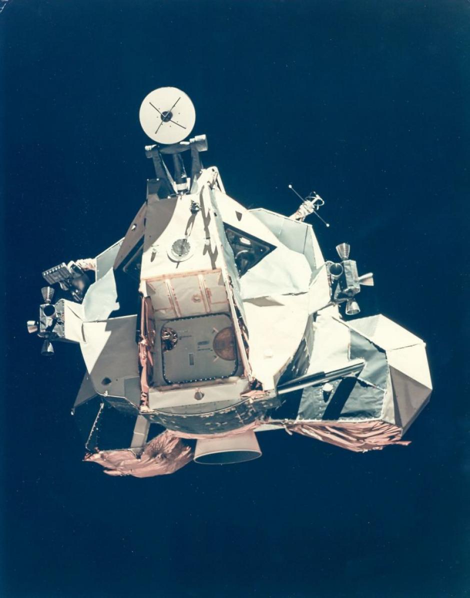La etapa de ascenso del Módulo Lunar en su retorno del satélite natural durante la misión Apolo 17 en diciembre de 1972. (Foto: NASA)