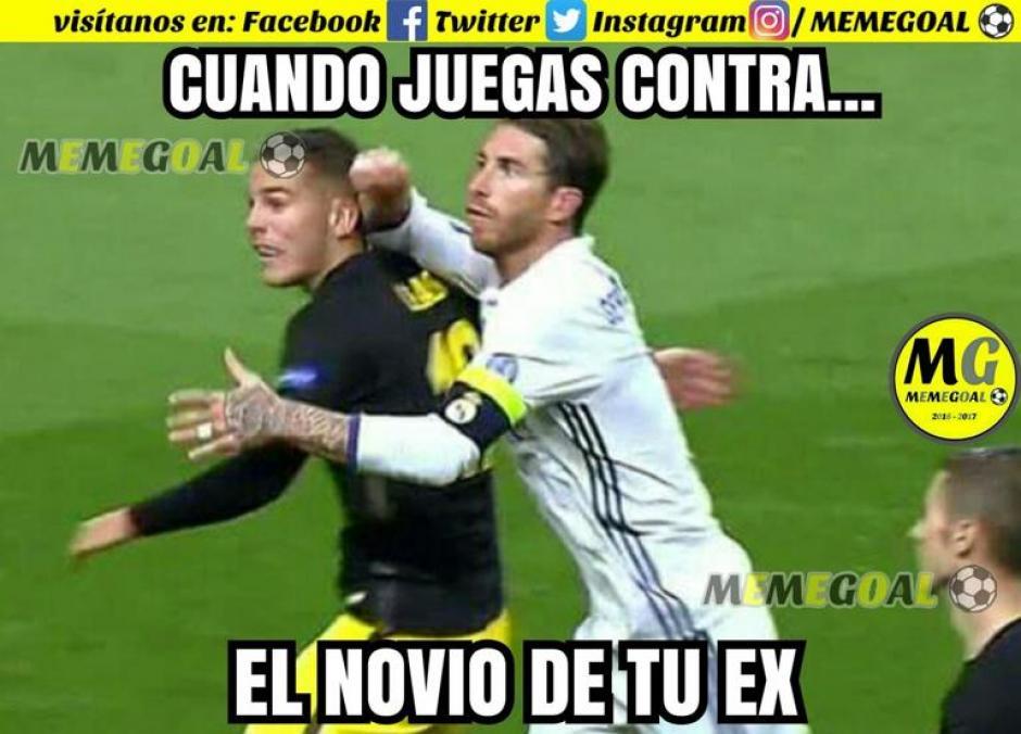 Sergio Ramos dando con todo. (Foto: Twitter)