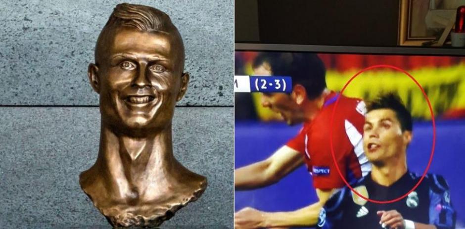 CR7 y su estatua en Portugal estuvo presente. (Foto: Twitter)
