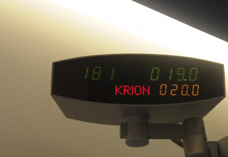 Este es el monitor de temperatura de la cámara de crioterapia. (Foto: Jesús Alfonso/Soy502)