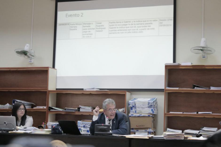 Durante la audiencia por el caso La Línea se reprodujeron varios audios. (Foto: Alejandro Balán/Soy502)