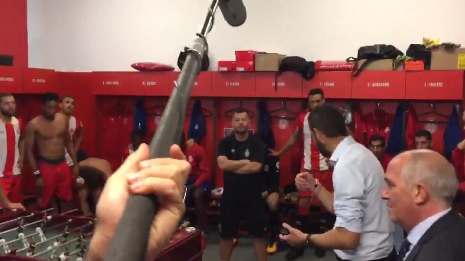 """Pablo Machín técnico del Girona le dijo emocionado a sus jugadores: """"le hemos ganado al campeón de Europa"""". (Foto: Captura de video)"""