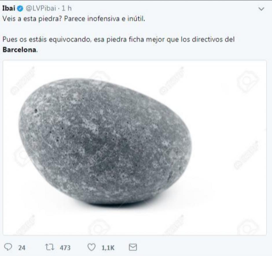 Una piedra ficha más que el presidente del Barcelona.  (Foto: Twitter)