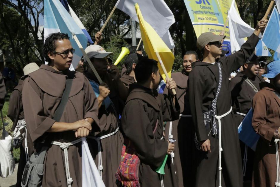 Así manifestaron los franciscanos en el Paro Nacional. (Foto: Alejandro Balán/Soy502)