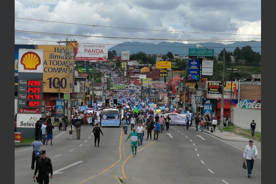 En Quetzaltenango se registran movilizaciones. (Foto: Stereo100)