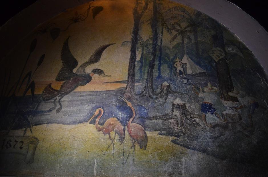 Este mural podría contar cómo la familia Rittscher llegó a Guatemala, aunque no se sabe con certeza. (Foto: Selene Mejía/Soy502)