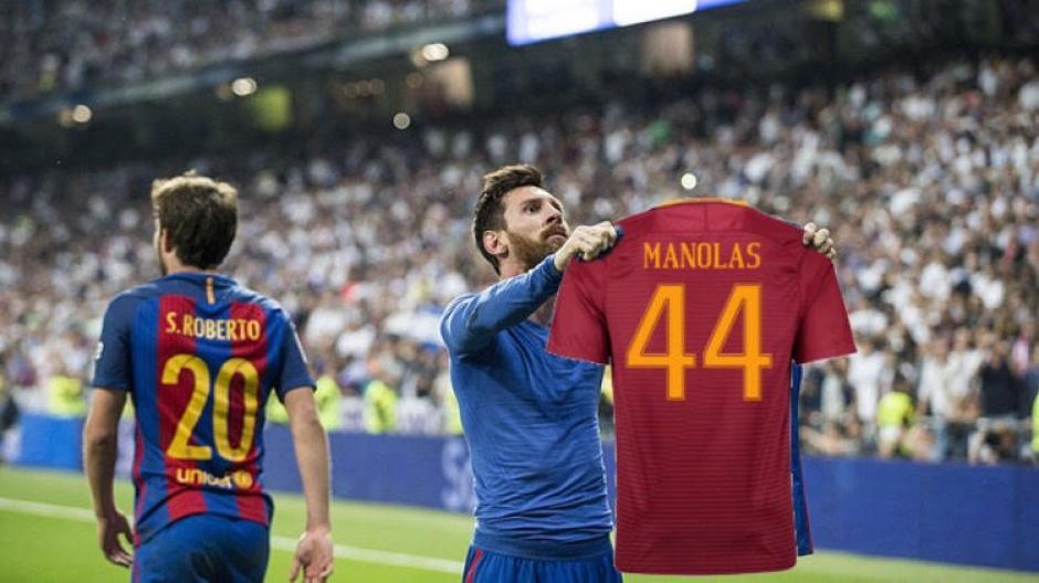 Messi luce la camiseta de Manolas. (Foto: Ok Diario)
