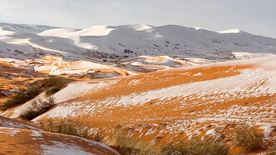 Una extraña tormenta provocó que nevara en el desierto. (Foto: Karim Bouchetata)