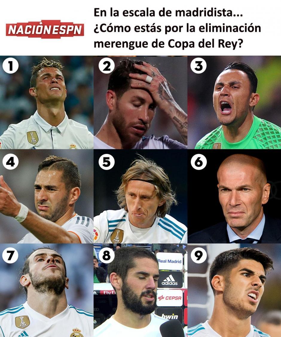 Las reacciones de los jugadores del Real Madrid tras su eliminación. (Foto: Twitter)