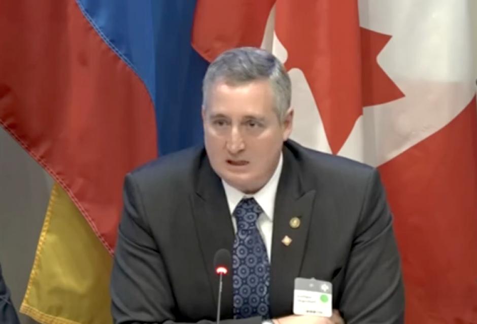 El ministro de Gobernación, Enrique Degenhart, participó en la segunda Conferencia de Prosperidad y Seguridad en Washington. (Foto: captura de pantalla)
