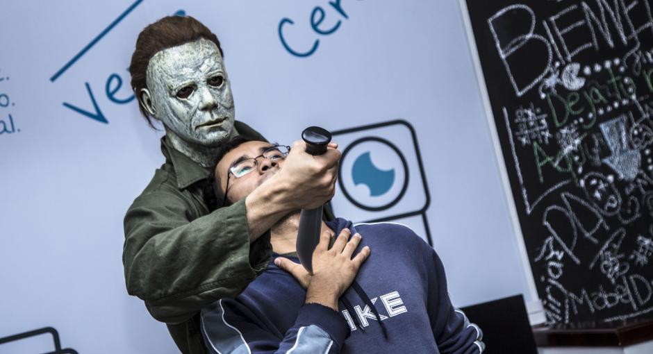 El personaje estelar de Halloween atemorizó al equipo. (Foto: Victor Xiloj / Soy502)