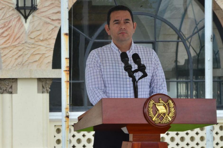 El presidente de Jimmy Morales durante la conferencia de prensa por caravana migrante. (Foto: Jesús Alfonso/Soy502)