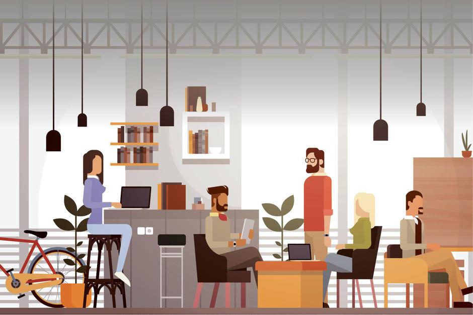 Hacer coworking permite a pequeños empresarios tener un espacio adecuado para trabajar un bajo costo. (Ilustración. Javier Miranda/Soy502)