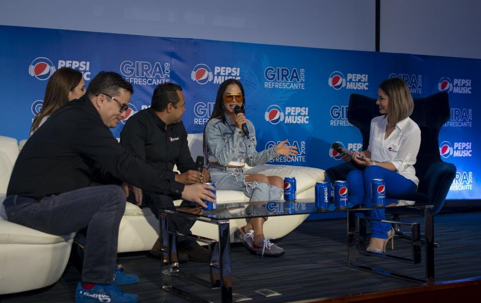 Nati Natasha estuvo presente en la conferencia de prensa de la Gira Refrescante Pepsi. (Foto: George Rojas/Soy502)